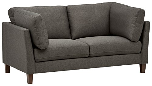 Rivet Midtown Contemporary Upholstered Loveseat Sofa, 68.5'W, Charcoal