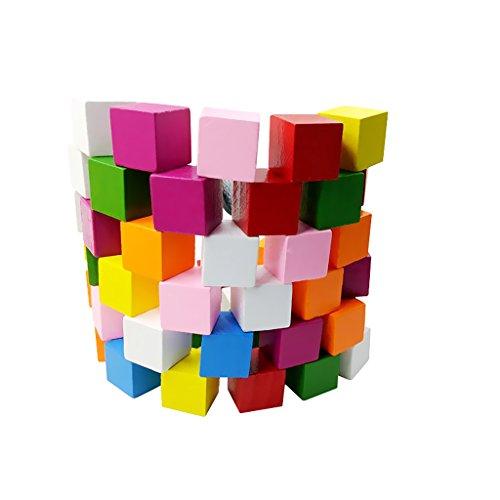 Lot de 50 blocs en bois aux couleurs assorties MagiDeal décorations pour travaux manuels 15 mm