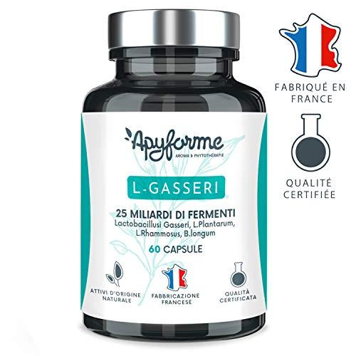 Fermenti Lattici - Probiotici Lactobacillus Gasseri - 25 miliardi di CFU - Capsule Gastroresistenti - 100% FRANCESE - 30 Giorni 60 Capsule - Prodotto in Francia da Apyforme