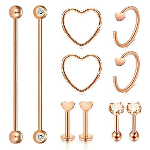AceFun 10 Pieces Stainless Steel Industrial Barbell Lip Cartilage Stud Earrings Hoop Tragus Helix Ear Piercing Body Silver Jewelry