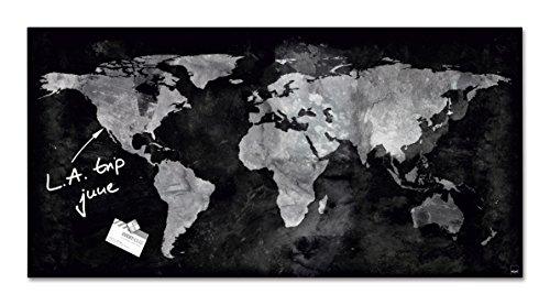 SIGEL GL270 Tableau magnétique en verre, 91 x 46 cm, carte du monde, noir/gris - Artverum