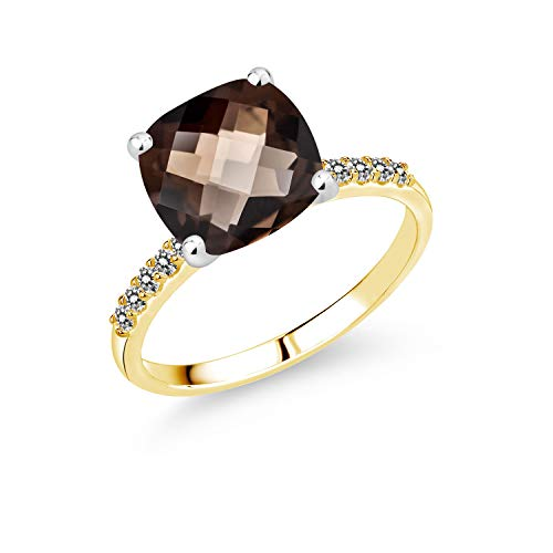 Gem Stone King 4.05 Ct Cushion Checkerboard Brown Smoky Quartz White Diamond 10K 2-Tone Gold Ring (Size 8)