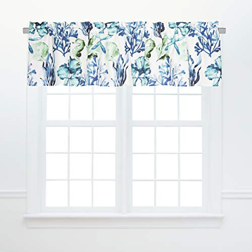 C&F Home Bluewater Bay Valance Coastal Ocean Nautical Underwater Window Curtain for Living Room Kitchen Bedroom Set of 2 Valance Set of 2 Blue