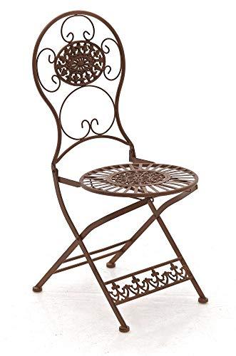 CLP Eisen-Klappstuhl MANI Vintage I Antiker handgefertigter Gartenstuhl aus Eisen I erhältlich, Farbe:antik braun