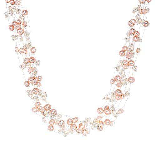 Valero Pearls Damen-Kette Hochwertige Süßwasser-Zuchtperlen in ca. 4-6 mm Barock rosa/weiß 43 cm + 5 cm Verlängerung - Perlenkette Halskette mit echten Perlen rosé weiss 60200102