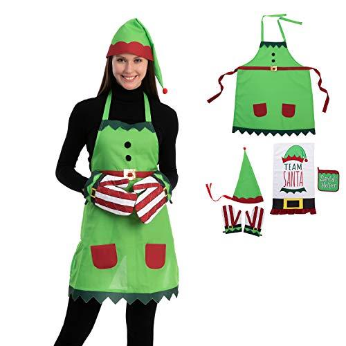 JOYIN 6 PCS Elf Apron Christmas Kitchen Linens Accessories Set – Christmas Elf Apron, Hat, Cooking Chef Towel, Oven Mitts, Potholder, for Unisex Christmas Party Costume Supplies