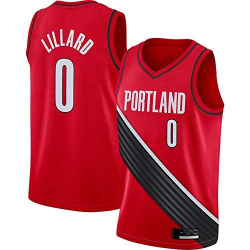 Wo nice Uniformes De Baloncesto para Hombres, Portland Trail Blazers # 0 Damian Lillard Chaleco Casual De La NBA Camiseta De Baloncesto Sin Mangas Tops De Camiseta Sin Mangas,Rojo,S(165~170CM)