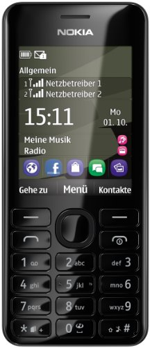 Nokia Asha 206 Smartphone Dual SIM, Display da 6,1 cm (2.4 Pollici), Fotocamera 1.3 Megapixel, Colore Nero [Importato da Germania]