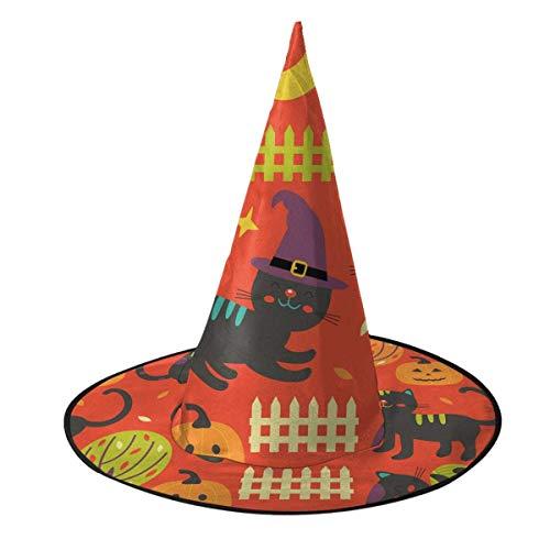 leyhjai Colorido patrn de otoo con Gatos Negros Sombrero de Bruja Disfraz de Halloween Cosplay Accesorio de Bruja Malvada para nios y Adultos