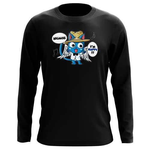 Okiwoki T-Shirt Manches Longues Noir Parodie Fairy Tail - Happy - Happy Williams : (T-Shirt de qualité Premium de Taille L - imprimé en France)