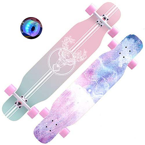 DFWYG Longboard Kinder Anfänger 43 Zoll Vintage Fancy Cruiser Street Skateboards,Mädchen Jungen Erwachsene Profis Old School Pinsel Street Buntem LED-Lichtrad Surfing Penny Board,Flesh, HSGAV