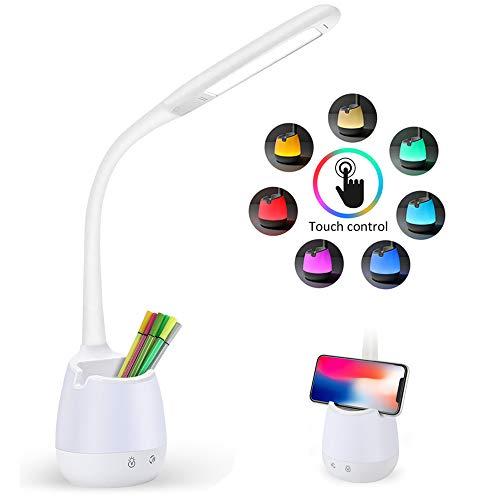 LED Schreibtischlampe für Kinder Augenschutz Leselampe KKUYI Nachttischlampe mit Stifthalter, Schwanenhals, Touch Control, 3 Helligkeitsstufen Dimmbar und 8 Farbe Nachtlicht,USB-Anschluss