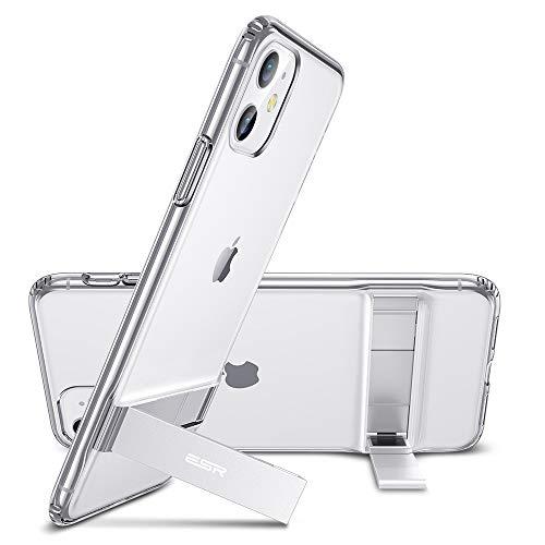 ESR Funda Metal Kickstand para iPhone 11, Soporte Vertical y Horizontal, Protección Reforzada contra caídas. Suave Tapa Trasera de TPU. para iPhone 11. Transparente (2019)