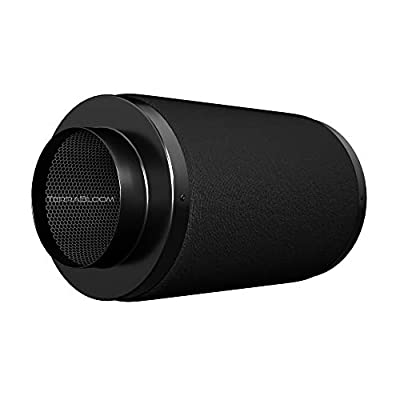 """TerraBloom Air Carbon Filter, 4"""" x 12"""", Activated Charcoal Scrubber for Inline Duct Fans Up to 200 CFM. for Grow Tent Ventilation Kits, Hydroponics, Odor Removal"""
