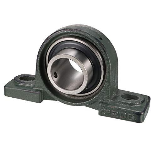 uxcell UCP208 Pillow Block Bearing, 40mm Bore Diameter, Cast Iron/Chrome Steel, Set Screw Lock