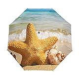 Sombrilla costera de playa con estrellas de mar para mujer y hombre, cierre automático, tamaño pequeño, plegable, 3 unidades
