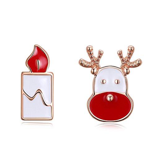 Vrouwelijke Insert Klassieke Zink Legering Kerst Druppelen Kerstman Kaars Oorbellen, rosé goud
