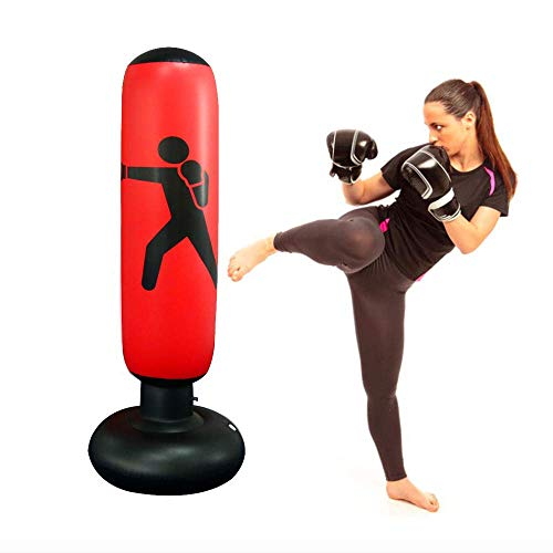 JanTeel Boxsack, Standboxsack Aufblasbare Boxsäule Tumbler Kinder/Erwachsene Fitness Dekompression Sandsäcke Kick Kampftraining, Freistehender Boxsack Trainer Punching Ball Sandsack 160CM (Rot)