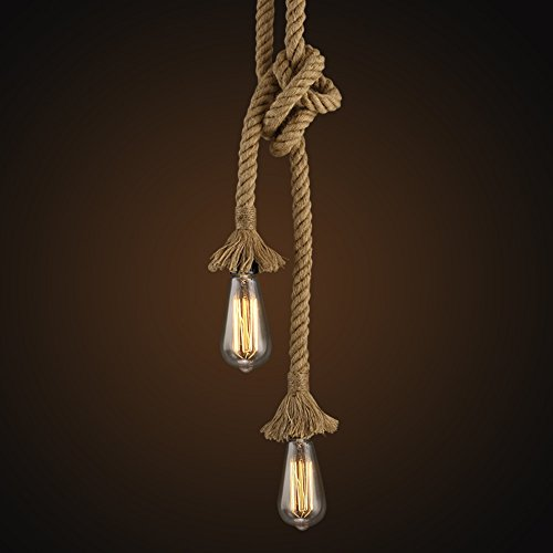 Boshen Vintage Industrial Pendant Hemp Lamp Rope Rustic Hanging Lights for Bedroom Restaurant Cafe Bar Country Style Single/Double Heads 1M-4M Easy to Install