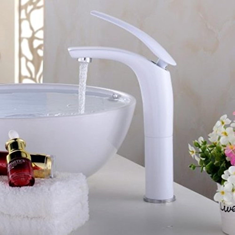 Diongrdk White Tap, Basin, Single Hole, Creative Faucet, golden European Bathroom Cabinet, color Bake,B
