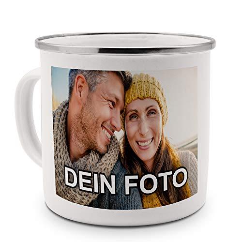 PhotoFancy – Emaille-Tasse mit Foto Bedrucken Lassen – Blechtasse Personalisieren – Nostalgie-Becher selbst gestalten (Groß [400 ml], weiß mit silbernem Mundrand)