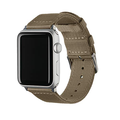 Archer Watch Straps   Premium Cinturino Ricambio di Nylon per Apple Watch   Fibbia e Adattatori in Acciaio Inossidabile e Nero   Cinturino per Uomo e Donna   Kaki/Acciaio Inossidabile, 38/40mm