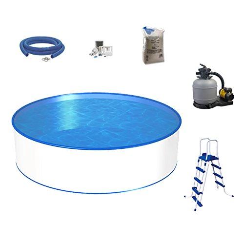 mediPOOL - Rundpool Ø 3,50 x 1,20m - 0,6mm Folie 0,6mm Stahlmantel, Komplett-Set | Pool-Set Komfort