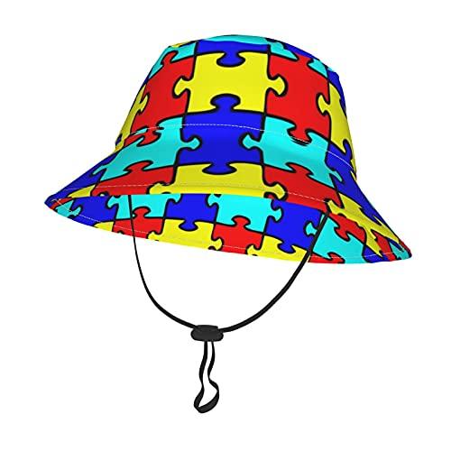 Unisex Baby Hut für Mädchen Jungen Autismus Puzzles Stück Kleinkind Kinder Eimer Hüte mit verstellbarem Kinnriemen Durable Sommer Sonnenschutz Kappe Outdoor Park Fisherman Cap Gr. Medium, Schwarz