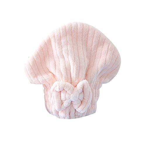 WFF sombrero Microfibra Pelo Secado Toallas Cabeza Abrigo Absorbente Bow-Knot Caps de pelo Secado rápido Pelo Turbante Ducha Casquillo Pelo Secado Planta para el cabello húmedo Cap gorro de puntogorra