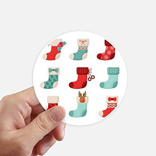 DIYthinker Joyeux Noël Sock coloré Illustration adhésifs Ronds de 10 cm Mur Valise pour Ordinateur Portable Motobike Decal 8Pcs diamètre 10cm Multicolor