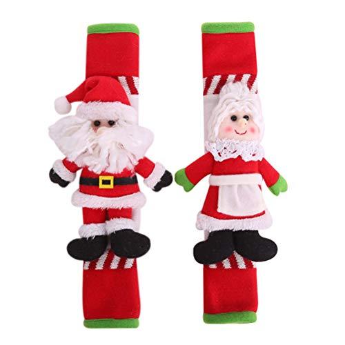 Cabilock 2 STÜCKE Weihnachten Griff Abdeckung Alte Großmutter Großvater Kühlschranktür Abdeckung Festlich Praktisch für Mikrowelle Kühlschrank Küche