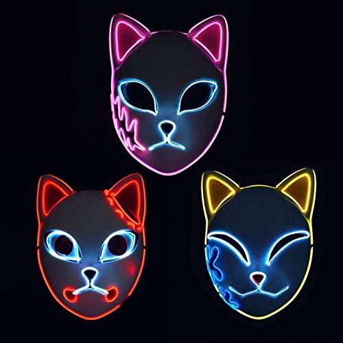 Demon Slayer Mask,LED Halloween Mask Japanese Anime Demon Slayer (3pcs)