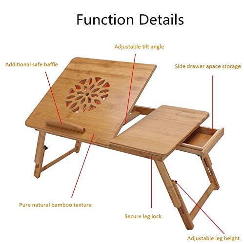FMXYMC Laptop-Schreibtisch für Schlafsofa, Verstellbarer Computertisch mit Kippplatte/Schublade/Notebook-Lüfter, Frühstückstablett mit klappbaren Beinen, Nature Bamboo Lapdesk