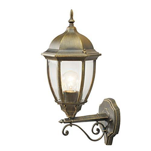 MW-Light 804020101 Applique Extérieure Classique en Métal couleur Or Patiné Abat-jour en Verre Transparent pour Jardin Terrasse IP44 1x95W E27