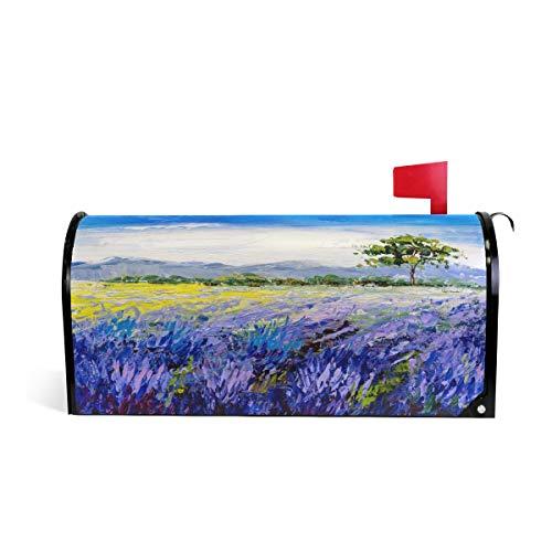 ZZKKO Lavendelveld, magnetisch brievenbusdeksel, afdekkap voor brievenbus voor buitentuin, huisdecoratie, groot formaat 25,5 x 20,8 inch 25.5