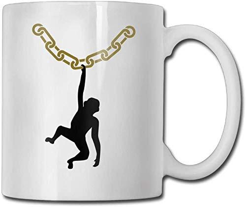 Taza de té de cerámica de cerámica de regalo de 11 oz de doble cara del mono del collar de encargo de las tazas de café de 325 ml