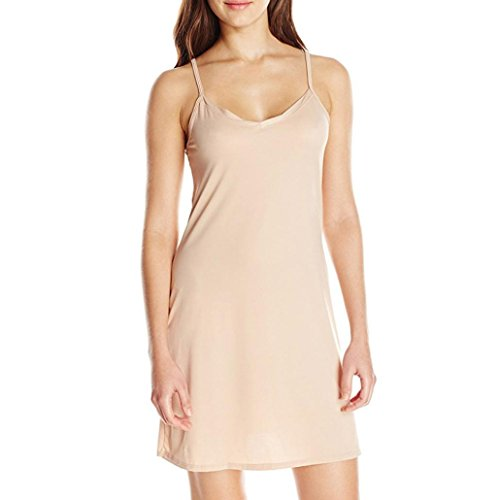 OVERMAL Trägerloses Frauenkleid, Mode Frauen Frauen Ärmelloses Kleid Über dem Knie Loses festes Kleid Weiblich Klassisch Slip Back Petticoats Minikleid (Beige, M)