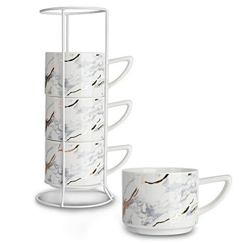 SOPRETY Tassen 4er Set inkl. Tassenhalter, Espressotassen aus Keramik mit weißen Ständer, elegant Marmor Kaffeetassen Teetassen stapelbar, für Küche Büro, 200ml, weiß