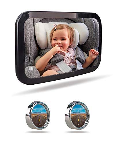 AOLEAD Espejo Retrovisor Coche Bebé, Irrompible Espejo de Coche Bebé para el Asiento Trasero del Bebé con Espejos de Punto Ciego