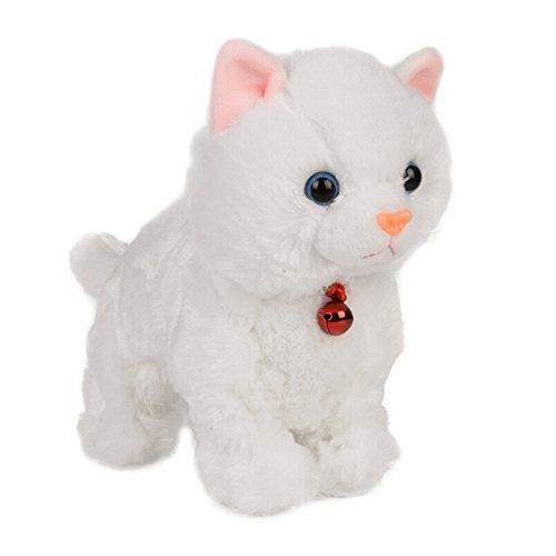 Smalody Plüschtiere, Neuheit Sound Control Elektronische Katze Interaktives Spielzeug Elektronische Haustiere Roboter Katze Für Kinder Kinder (weiß)