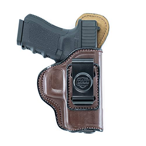 Maxx Carry IWB Leather Gun Holster for Springfield XDS 4 inch 9 mm, XDE 3.3 inch 9mm/.45ACP or 3.8 inch 9 mm | Walther PK380, Brown, Right Hand Draw