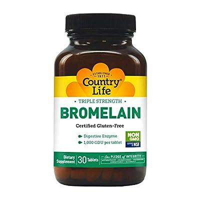 Country Life Triple Strength Bromelain, 500 mg, 2,000 GDU per Gram, Tablets, 30-Count