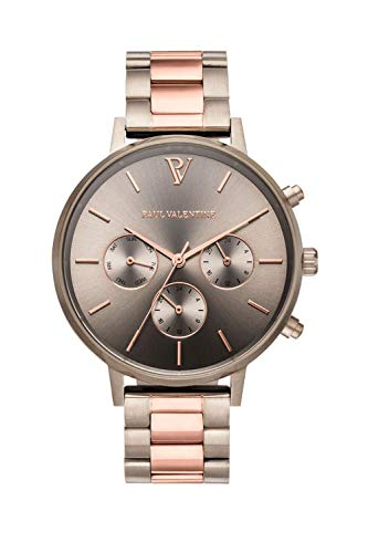 PAUL VALENTINE ® Damenuhr - Multifunctional Khaki Link 38 mm - Aus hochwertigem Edelstahl - Edle Damen Uhr mit japanischem Quarzwerk - Spritzwassergeschützt - Armbanduhr für Damen