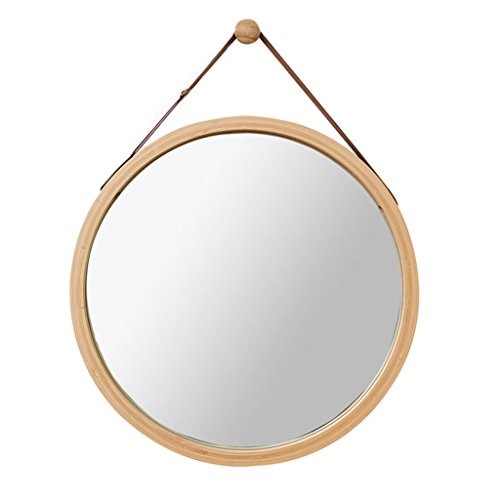 Miroirs de salle de bain Miroir Mural Rond Miroir de Toilette Miroir de Toilette Miroir décoratif en Bois pour Chambre à Coucher Miroir Rond avec Corde (Color : Yellow, Size : 38cm*38cm)