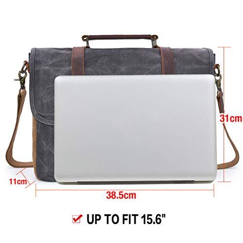 NEWHEY Herren Umhängetaschen Aktentasche Laptoptasche Wasserdichte Canvas Groß Arbeitstasche Messenger Bag Männer Vintage 15.6 Grau