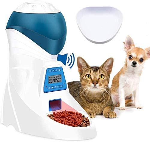Jnwayb JW26 Comedero Electrónico Automático con Recordatorio por Voz y Temporizador Programable, 6-Comidas para Perros (Mediano y Pequeño) y Gatos