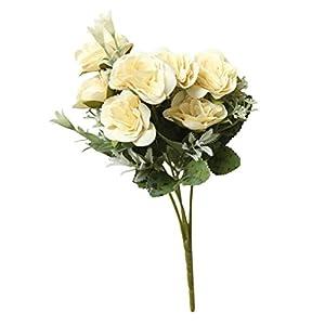 Yeefant 1 Bunch 8 Heads Wild Rose Bouquet Artificial Fake Peony Silk Flower Bridal Hydrangea Home Wedding Decor,0.89 Ft