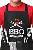 Grill Master - BBQ Apron Funny Grill Apron with 2 Pocket Adjustable Neck Strap Cooking Apron for Birthday, Christmas, Thanksgiving, Best Gifts for Dad, Husband, Friends