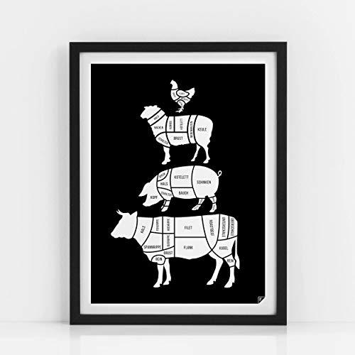 Küche Poster - Beim Metzger - Küche Bild, Kitchen Poster, schwarz (30x40 cm)