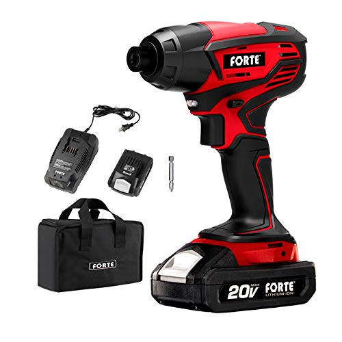Forte ID20B Cordless Impact Drill Driver Kit  20V Max 1700 inlbs of Torque 1/4IN Hex with Lithiumion Battery Quick Charger and Storage Bag Included